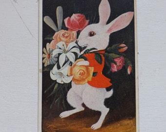 "Antique Easter postcard humanized Easter bunny Easter rabbit ""Calling on His Love"" Brer Rabbit Uhllman vintage ephemera"