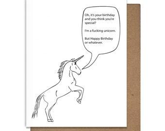 Funny Birthday Card Unicorn Letterpress
