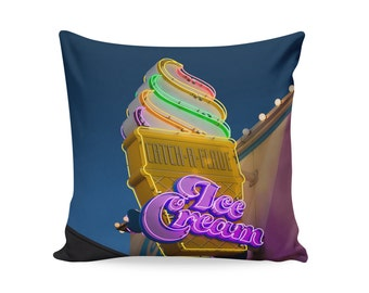READY TO SHIP | Ice Cream Neon Sign 18x18 Pillow Cover | Kitschy Home Decor | Mid Century Pillow | Decorative Pillow Cover | Ice Cream Sign