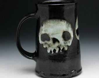 Triple Skulls Pint Mug, Ghost Skulls Beer Mug