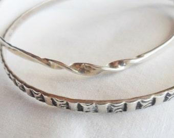 Pair of Vintage Sterling Silver Bangle Bracelets