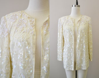 1980s Cream Bead and Sequin Jacket
