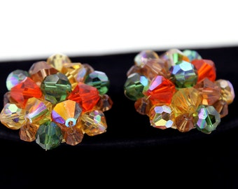 AB Crystal Cluster Earrings in Fall Colors, 1950s