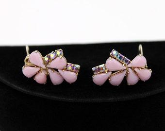 Pretty Lilac-Pink Milk Glass Earrings with Aurora Borealis Rhinestones