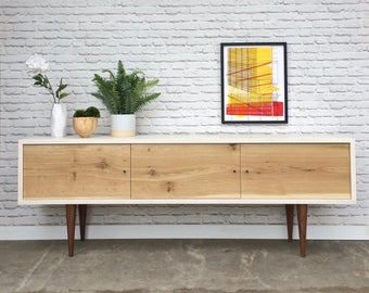 Rochdale Credenza / Media Console - White Wash Finish - Single Slab Rustic White Oak Doors - In Stock!