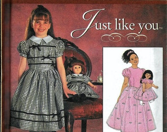 "Simplicity 7847 Just Like You Girls Dress & Matching 18"" Doll Clothes Sewing Pattern UNCUT American Girl Size 7, 8, 10, 12"