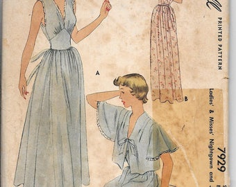 Vintage 40s McCall 7929 Nightgown & Jacket Sewing Pattern Size 12 Bust 30