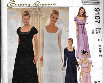 McCall's 9107 Evening Elegance Dress Scoop Or Square Neck Sewing Pattern UNCUT Size 14, 16