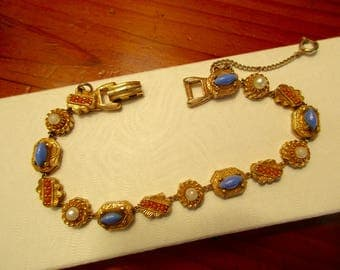 Signed ART Vintage 15 CHARM BRACELET: 24K Gold Plate w/Sapphire Blue Cabochons, Gleaming Seed Pearls & Coral Charms w/Embossing and Etching