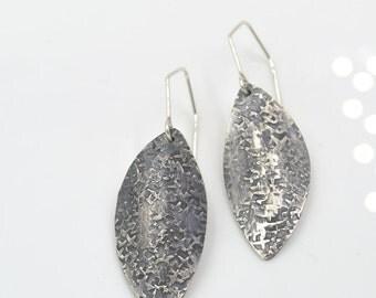 Sterling Silver Hammered Curved Petal Earrings