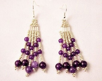 Beaded Silver And Purple Jade Natural Stone Fringe Earrings, Beaded Earring, Fringe Earring, Chandelier Earring, BOHO Earring