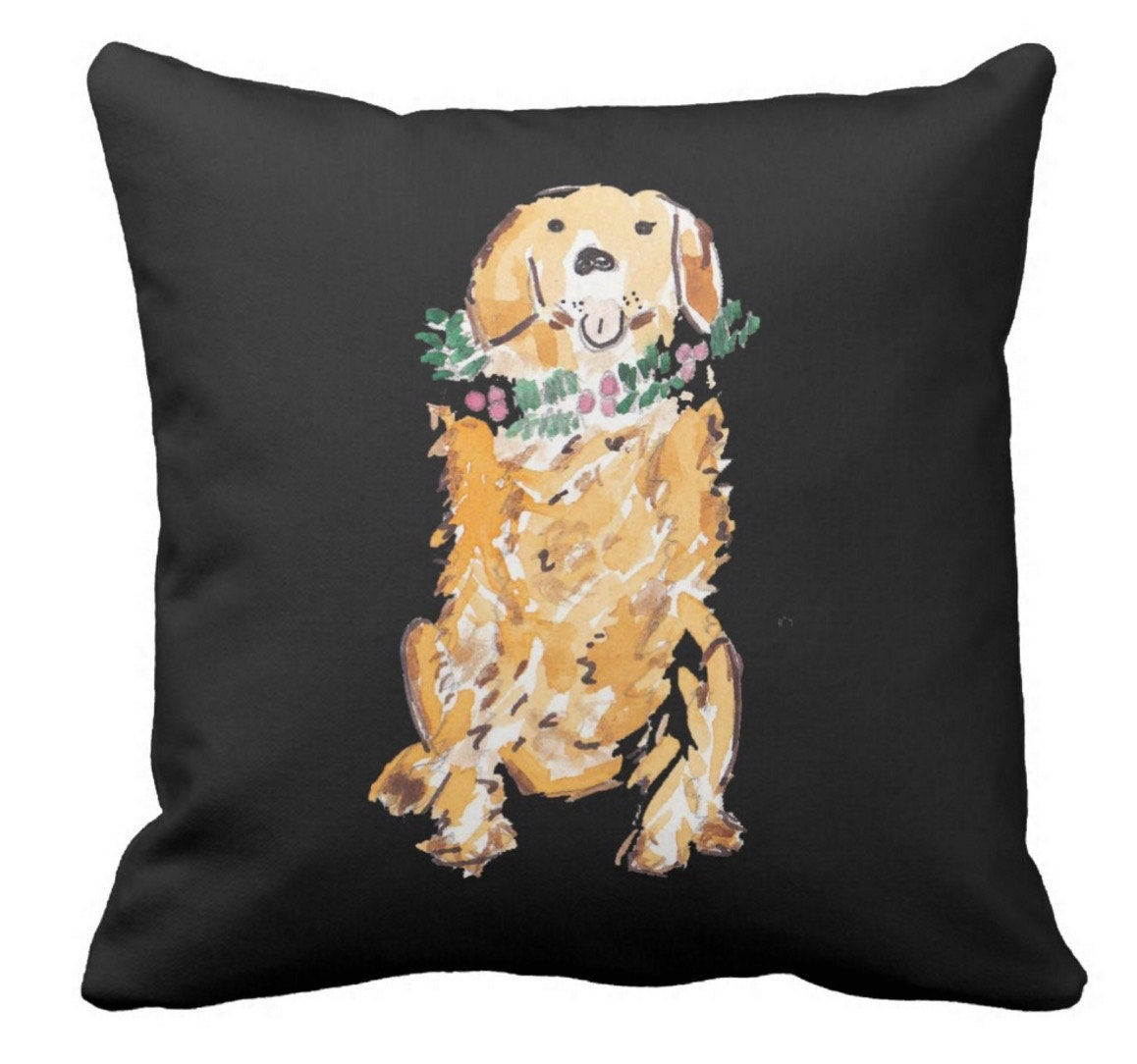 Golden Retriever Christmas Pillow Double Sided in watercolor