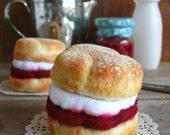 Felt Food or Pincushion, Scone with Cream and Jam