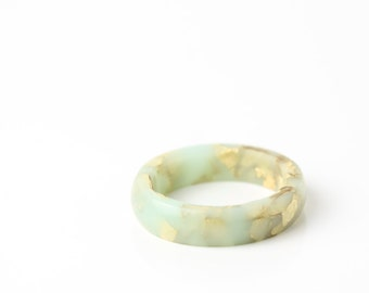 size 6 | thin smooth stacking eco resin ring | winter mint green resin with gold metallic flakes