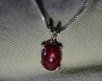 Star Ruby Cabochon Necklace, Certified Genuine 3.60 Carat Ruby Cabochon Pendant Appraised at 900.00, July Birthstone, Sterling Silver