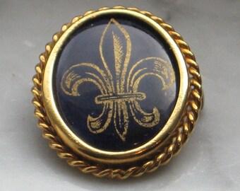 Limoges France P. Pastaud Fleur de lis Porcelain Cobalt Blue Goldtone Brooch