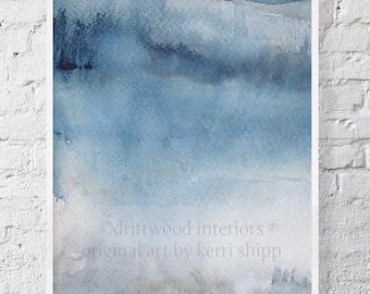 "Blue Gray Abstract Watercolor Print 17"" x 22"" - Abstract Art - Modern Abstract Wall Art - 'Ashen III' Wall Art Print"
