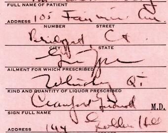 4/13 1933 Craig Prohibition Whiskey Prescription Vintage Doctor's Stub Pharmacy Bar Speakeasy Gift Mad Men Bar Rx Bridgeport CT Connecticut