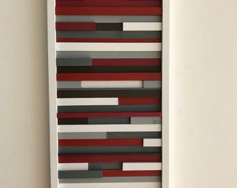 Wood Wall Art - Abstract Acrylic Painting on Wood - Reclaimed Wood Art