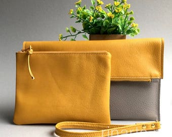 Leather fold over clutch / leather wristlet in yellow and gray leather with extra zipper pouch