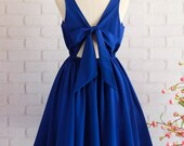 Royal blue dress Royal blue party dress blue prom dress Royal Blue bridesmaid dress Blue cocktail dress Bow back dress Royal blue sundress