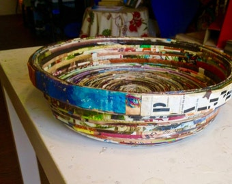 Colorful. Functional and Decorative Paper Made Basket or Bowl