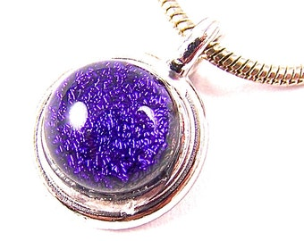 "Dichroic Pendant - Purple Violet Grape Amethyst Dichro Fused Glass Silver Plated - 1/4"" 6mm Dicro Nugget"