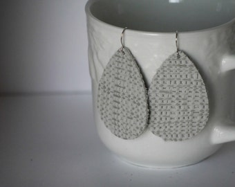 Gray White Textured Burlap Leather Teardrop Earrings