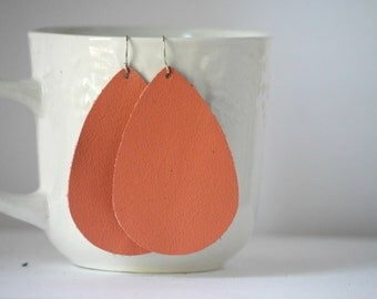 Coral Leather Drop Teardrop Earrings