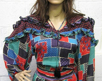 Original 1980s Diane Freis Multi Patterned Silk Dress UK Size 14/16