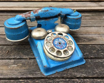 RESERVED FOR LORETTA- Vintage Metal Kids Phone - Blue