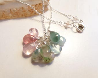 Afghanistan Tourmaline cluster sterling silver necklace pastel color tourmaline briolettes necklace
