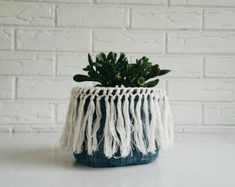 Vintage Mudcloth Plant Cover -  Indigo Textile Planter with Fringe - Bohemian Fabric Plant Holder