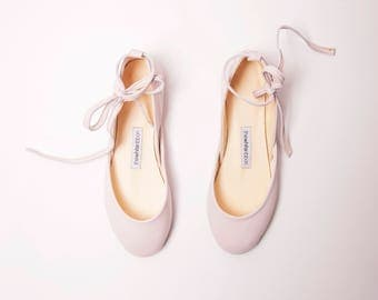 The Bridal Ballet Flats in Almond Blossom | Wedding Shoes in Light Blush | Almond Blossom with Leather Ribbons | Made to Order