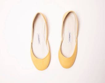 Butter Yellow Leather Ballet Flats | Pointe Style Shoes | Leather Shoes | Butter Yellow | Last Pair size 43 | Ready to Ship