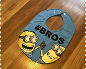 Minion #Bros Baby Bib, Recycled T-Shirt Baby Bib, Baby Boy Gift, Baby Shower Gift, New Baby Gift, Little Brother, Big Brother