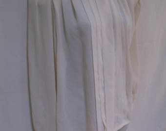 1980s Secretary Blouse, Jordan, Off-White, Made in Korea, Medium