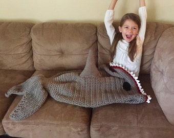 Shark Attack Blanket/ Shark Tail Afghan/ Shark Blanket/ Crochet Shark Tail Blanket/ Toddler to Adult Size- MADE TO ORDER