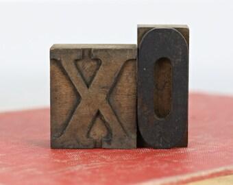 Vintage Letterpress XO   Printers Blocks Hugs And Kisses   Letterpress Blocks   Valentine's Decor   Wedding Decor