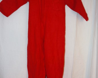 Vintage Footy Pajamas Union Suit style red 1955 for 2 year old 20 to 24 months approximately