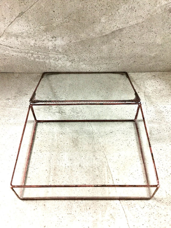 metal box 8 x 8 6 x 8 x 2 stained glass display box with hinged lid