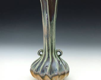 Blue, green, purple, tan & white carved porcelain grooved vase with handles