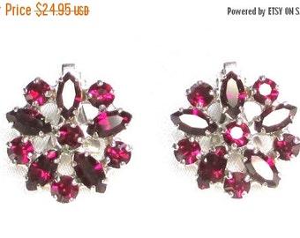 Sale Pre Holliday Vintage Rhinestone Earrings, Signed B. David Ruby Red Rhinestones