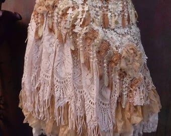 20%OFF wedding,tattered skirt, boho, mori girl, stevie nicks, bohemian skirt, gypsy skirt, white lace skirt, bellydance, wrap skirt, 6,8,10