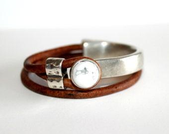 Howlite Leather wrap bracelet - Joanna Gaines inspired - Howlite leather bracelet - Leather Wraps