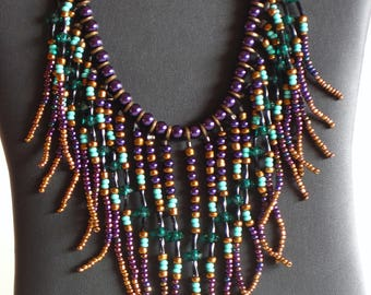 Native American necklace, purple, turquoise and gold