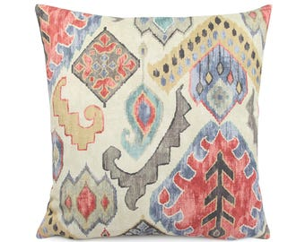 Brown Tan Warm Tones Southwestern Pillow Cover 18x18, 20x20, 24x24 Euro or Lumbar, Muted Marrakesh Ikat Pillow Cushion Cover, Taos Spectrum