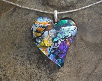 Rainbow Heart Pendant Fused Dichroic Glass Heart Necklace