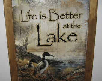 Framed  Tin Sign, Life is Better at the Lake, labs, Ducks, man cave, USA, cabin decor, wall hanging