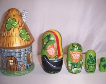 Hand painted St. Patricks Leprechauns stacking nesting doll set